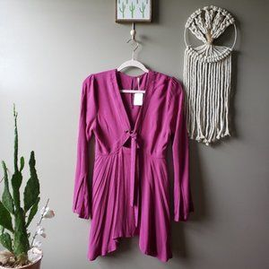 Free People Purple Fuschia Boho 60s Tie Tunic Top
